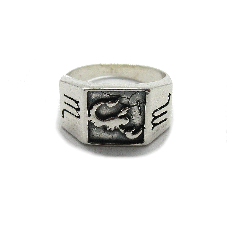Anello da uomo in argento massiccio 925 Segno zodiacale Scorpione R001831