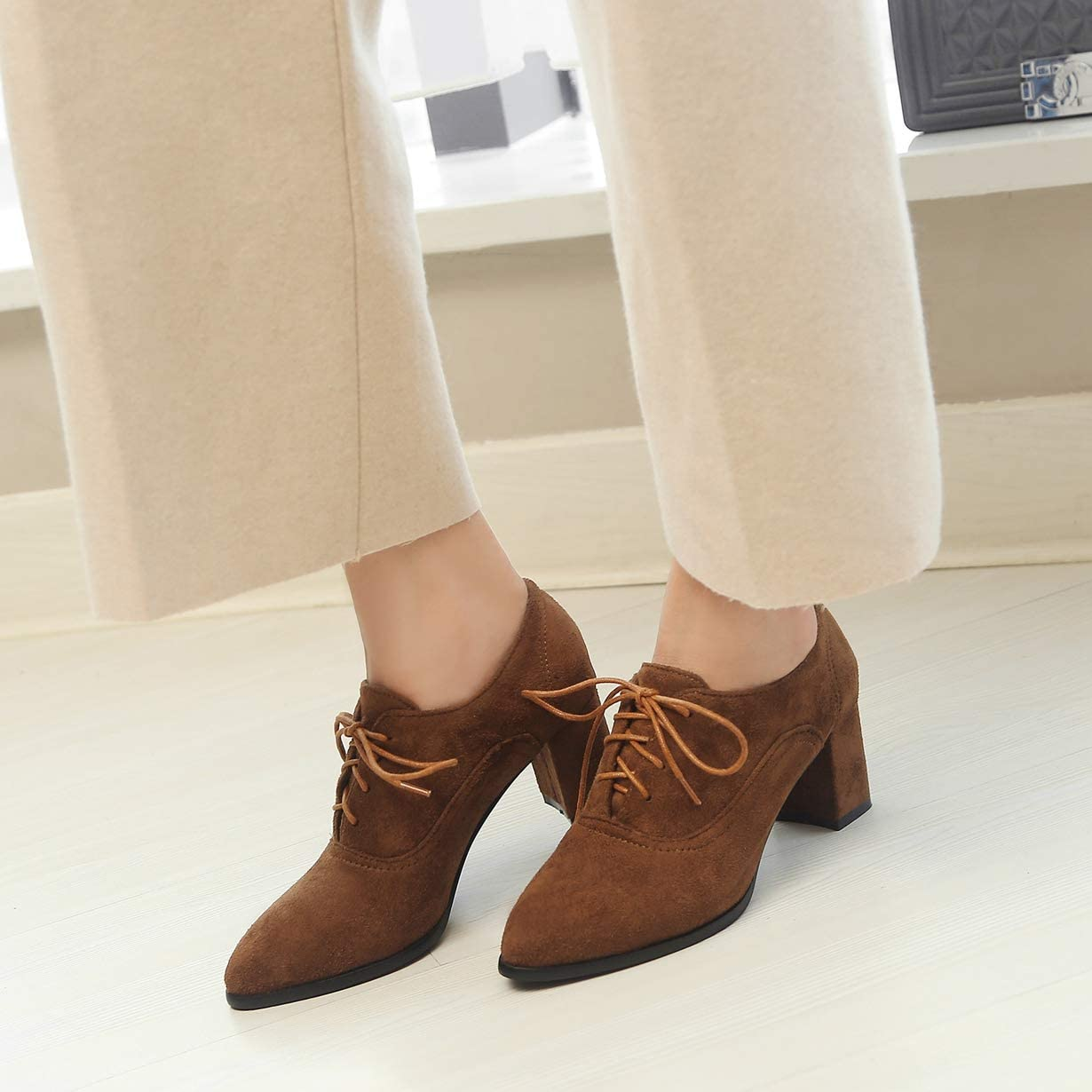 Womens Lace Up Oxford Pumps Pointed Toe Wingtip Suede Chunky Mid Heel Vintage Dress Brogue Shoes