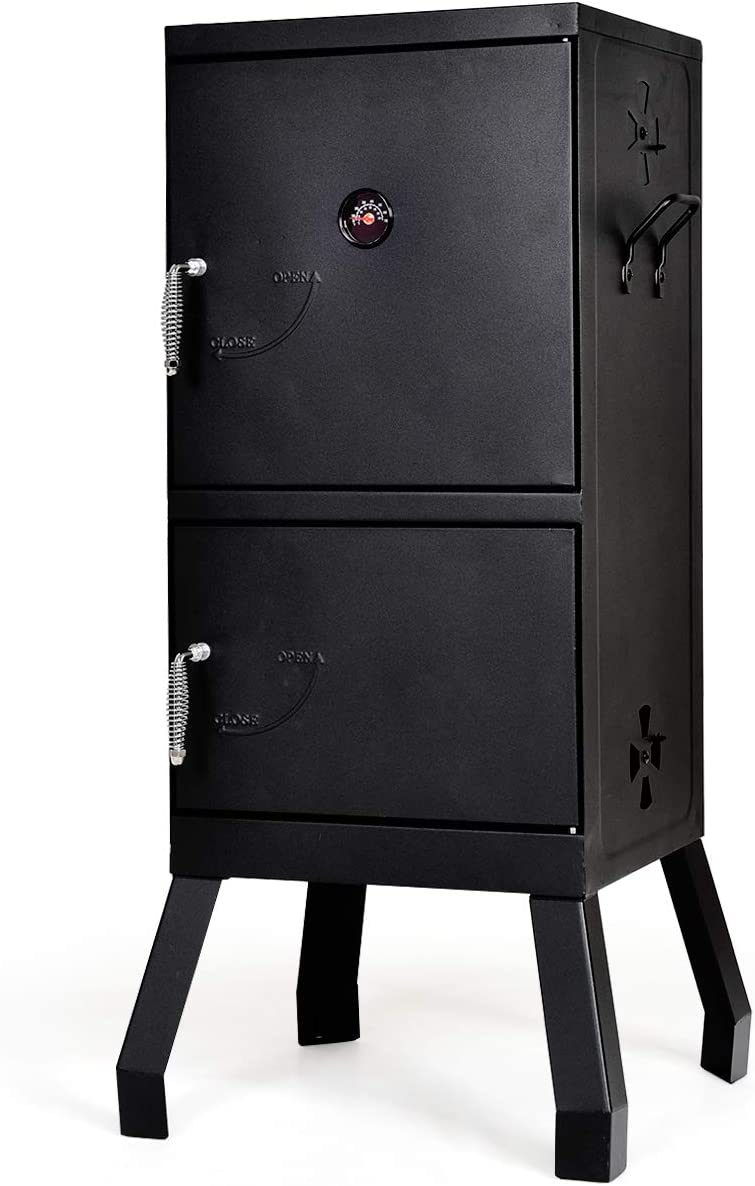 Giantex Vertical Charcoal Smoker 2-Tier Outdoor Barbeque Grill with Thermometer, Air Tent and Handle (Black)