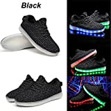 7 Colors LED Luminous Unisex Sneakers Shoes for Men & Women Couple USB Charging Colorful Flashing LED Light Up Shoes Glowing Leisure Breathable Sport Shoes (7.5 D(M) US, Black)