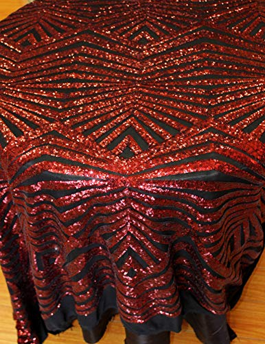 Geometric Designer, Color Burgundy/Black Fabric 4 Way Stretch Mesh Sequins Fabric by Yard
