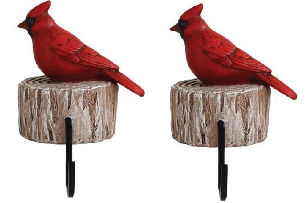 COOP Woodland Animal on Tree Stump Stocking Holder - Set of 2 (Cardinal)