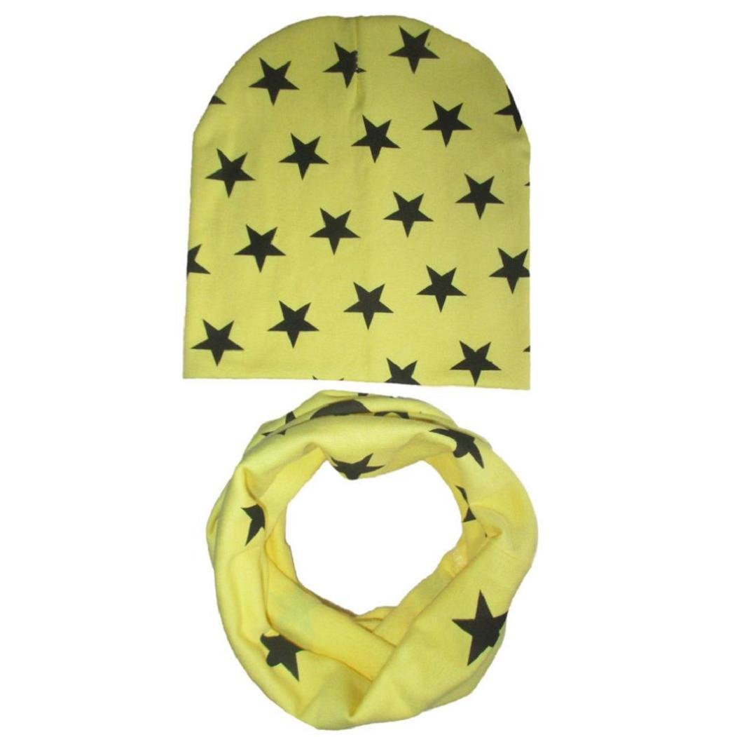Koly Muchachas de los bebés infantil para niños de la bufanda pañuelo Niño Sombreros Sombreros gorra (amarillo) [Clase de eficiencia energética A+++]