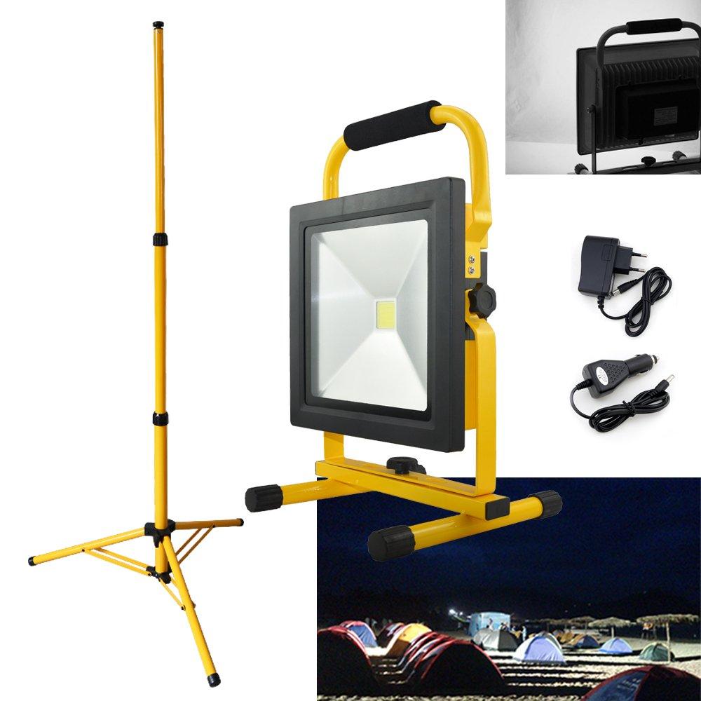 VINGO 50W Kaltweiß LED Akku Fluter Handlampen 4500LM Außenstrahler 4400MA mit Dreibeinstativ [Energieklasse A++] fsders B-1-HG3745 B-1-HG3409