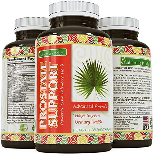 Prostate Support Prostate Supplement For Men A Natural Formula Saw Palmetto with Vitamin E, Amino Acids, Pygeum and 100% Pure and Reduce Symptoms of Frequent Urination & Hair Loss