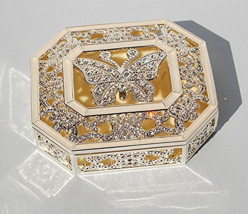 Silver Plated Butterfly Trinket Box