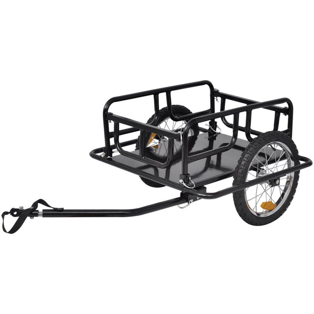 Daonanba Bike Two-wheel Cargo Trailer Black 110 lb Useful Cargo Transport Carrier Black