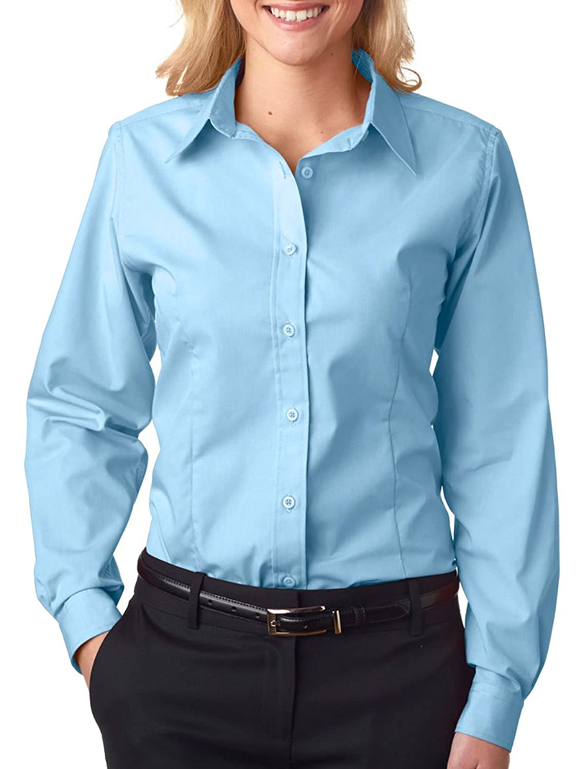 8355L UltraClub Ladies' Easy-Care Broadcloth - Light Blue - X-Large