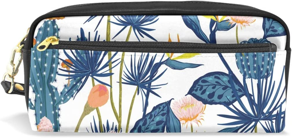 Estuche para lápices con diseño de cactus floral de flores, de piel con compartimentos para niños, escuelas, bolsos de cosméticos, pequeñas: Amazon.es: Oficina y papelería