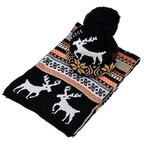Set di sciarpa del cappello del crochet di Natale di OHQ, cappello delle donne cappello del crochet ...
