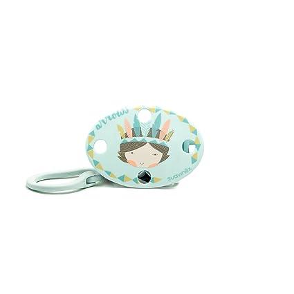 Suavinex 302605 - Broche ovalado indios, color azul