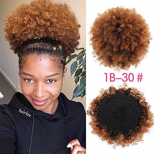 (SCENTW Synthetic Curly Hair Ponytail African American Short Afro Kinky Curly Wrap Synthetic Drawstring Puff Ponytail Hair Extensions Wig with Two Clips (Light Brown))
