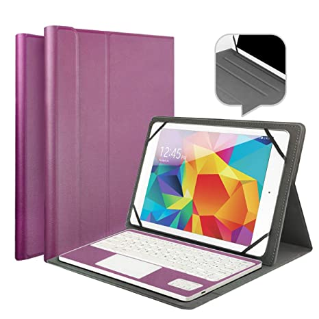 Wasan Funda con Teclado en Español Bluetooth Touchpad QWERTY Batería Recargable, PU Estuche de Piel