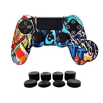 PS4 Funda para Cubrir el Mando de PS4 con 4 Grips para Pulgares, Funda Antideslizante de Silicona, Carcasa Protectora para Mando de Sony PS4 / ...