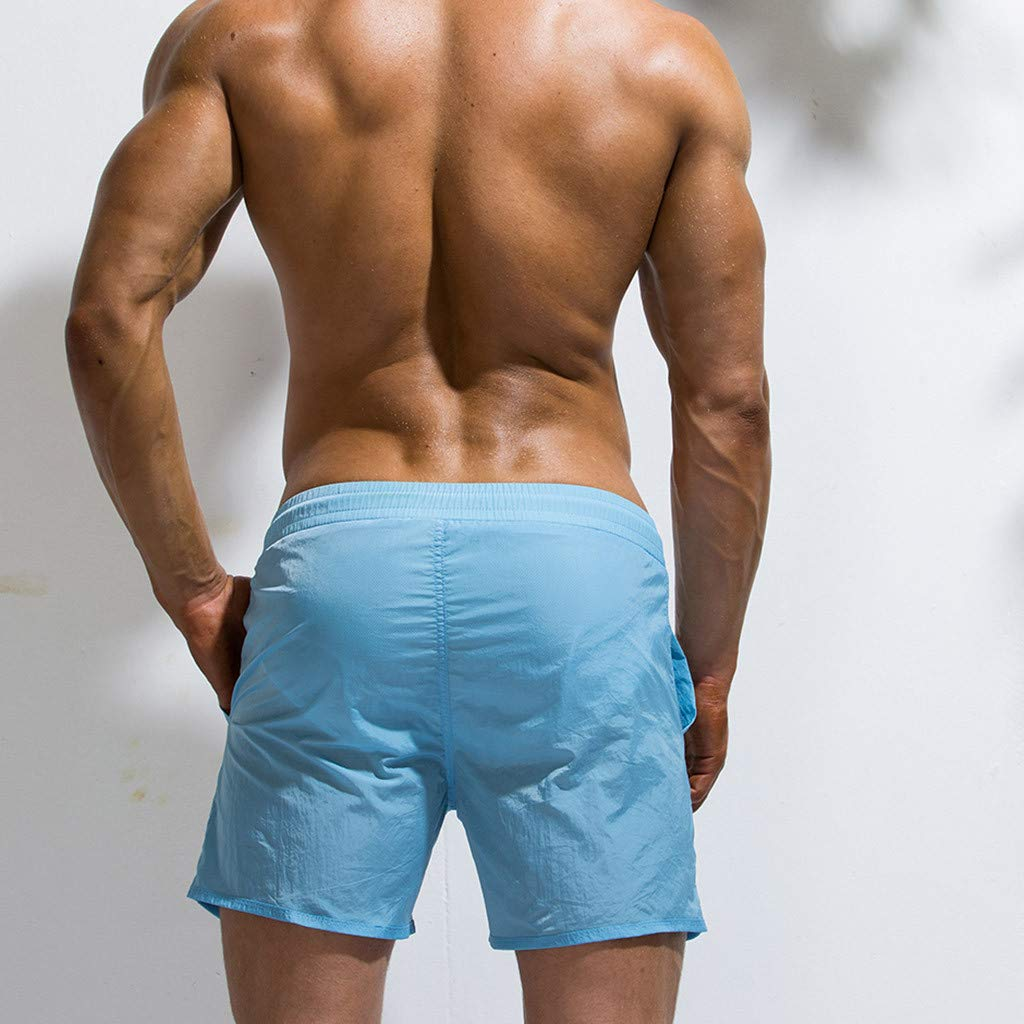 YKARITIANNA Fashion Mens Big Pocket Elastic Waistband Beam Line Belt Thin and Light Quick Dry Beach Pants Surf Pants