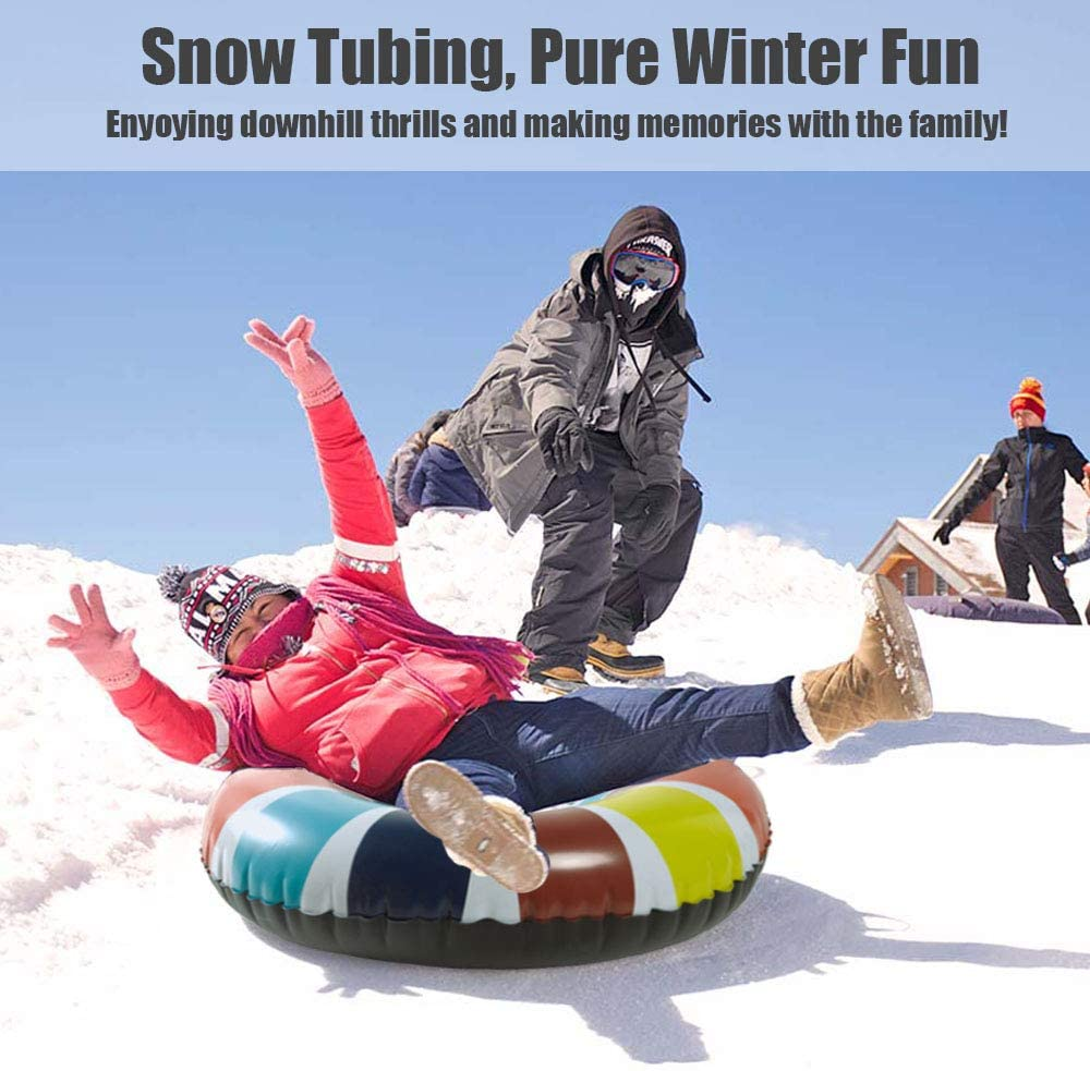 Snow Tube Double Layer Bottom /& Strengthened Handles Sledding Tube Heavy Duty Made by Thickening Material of 0.6mm 2019 Newest Super Big 47 Inch Inflatable Snow Sled for Kids and Adults