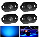 4WDKING Blue LED Rock Lights, 4 Pods IP68 Waterproof Underbody Glow Trail Rig Lamp LED Neon Lights for Truck Jeep Off…