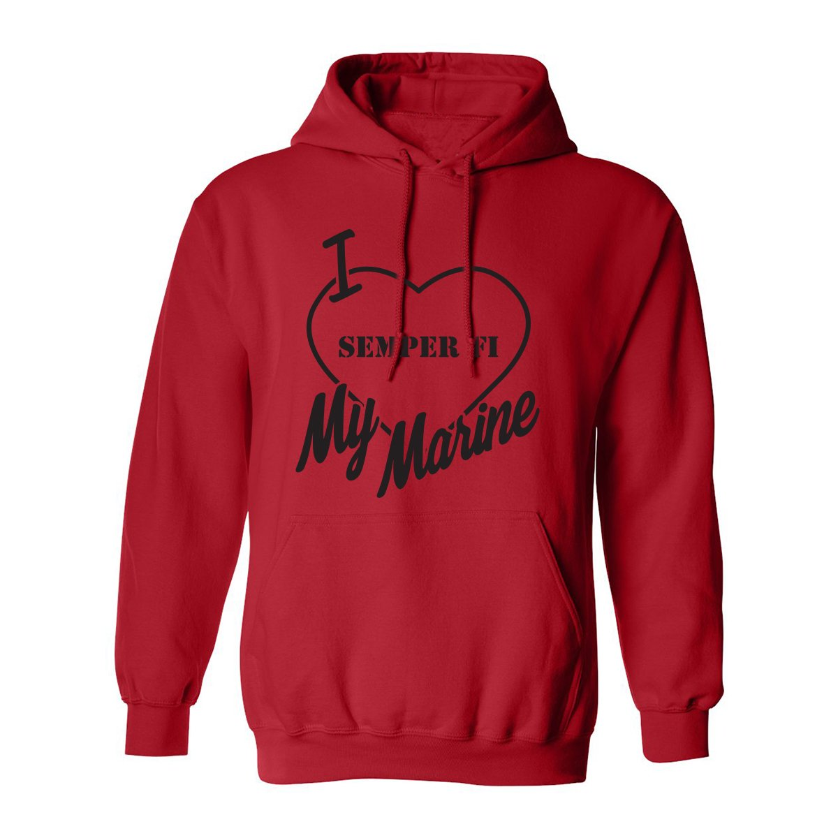 I Love My Marine (Semper fi) Adult Hooded Sweatshirt in Red - XXXX-Large