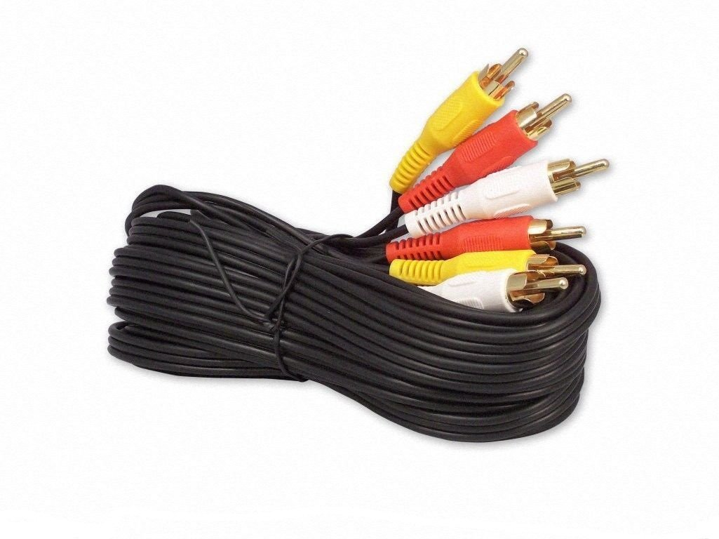 20ft 3 RCA composite av audio video cable gold plated ( L + R + V ) male m/m by Eagleggo
