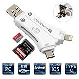 SD カードリーダー iPhone iPad SD カードリーダー メモリー スティック ライトニング カード リーダー Lightning/USB Type-C/USB 2.0 & Micro-USB OTG機能 SD/SDHC/SDXC/micro SD/micro SDXC 対応 IOS/Mac/Android/Windows/Linux用 iPhone SD カードリーダー マイクロ SD カード カメラ リーダー IOS 10.3以降対応(ホワイト)