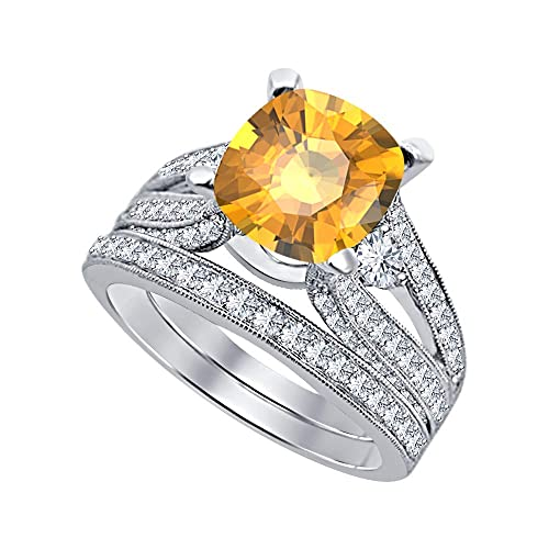 Amazon.com: Hermoso juego de anillos de compromiso para ...
