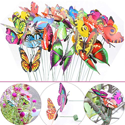 LeBeila Butterfly Stakes – Garden Yard Ornaments & Patio Décor Butterflies Waterproof Butterfly Decorations for Indoor/Outdoor Planter Flower Pot Bed, 24 pcs Christmas & Party Supplies Crafts (24)