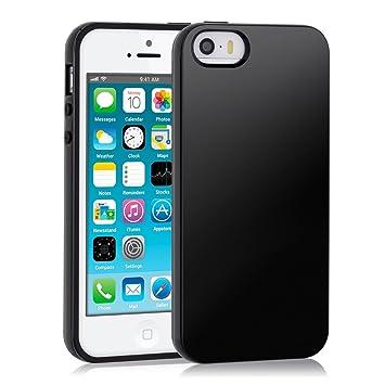 kwmobile Funda compatible con Apple iPhone SE / 5 / 5S - Carcasa de [TPU silicona] - Protector [trasero] en [negro]