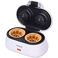 Double Waffle Bowl Maker by StarBlue - White - Make bowl shapes Belgian waffles in minutes | Best for serving ice cream…