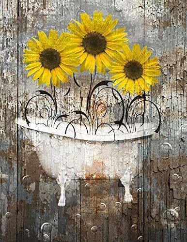 Amazon Com Rustic Yellow Brown Wall Art Sunflower Decor
