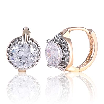 4cd6b7675b4d4 GULICX Fashion Jewelry Gold Tone Oval White Crystal Lovely Royal Gorgeous  Hoop Earrings