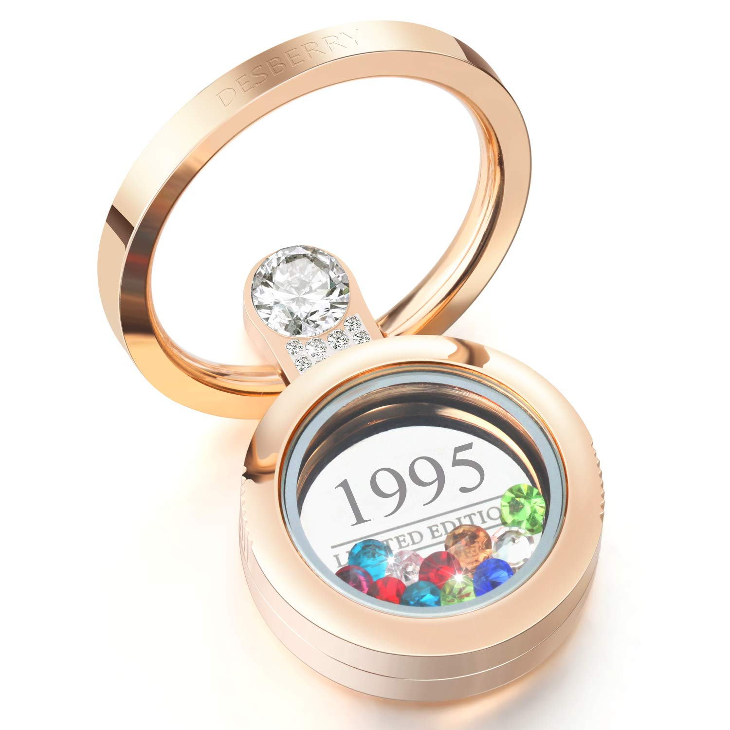 1995 23th Personalized Birthday Gifts For Women Girls Mom Wife Girlfriend Wedding Her Him Couples 23 Years Customizable Living Locket Cell Phone Ring