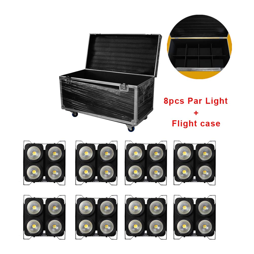 Imrelaxハイパワー8ピース4 * 100ワットcob ledオーディエンスブラインドライトウォームホワイト4アイズdmx led標準ライト付きフライトケースパッケージ 8pcs + 1フライトケース  B07JWF8231