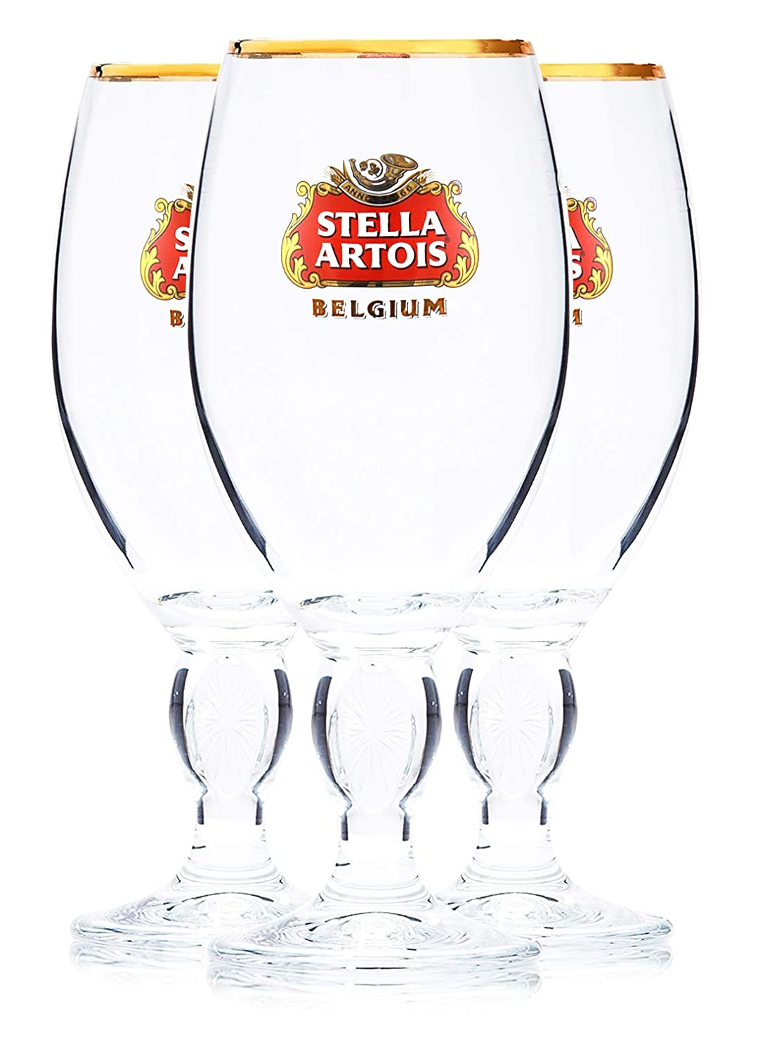 Stella Artois 3-Pack Original Large Beer Glass Chalices, 40cl