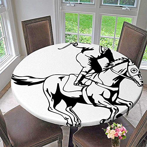 Premium Tablecloth Man Riding Horse and Raising Victory Salute Racing Winning Illustration Black White Everyday Use 43.5