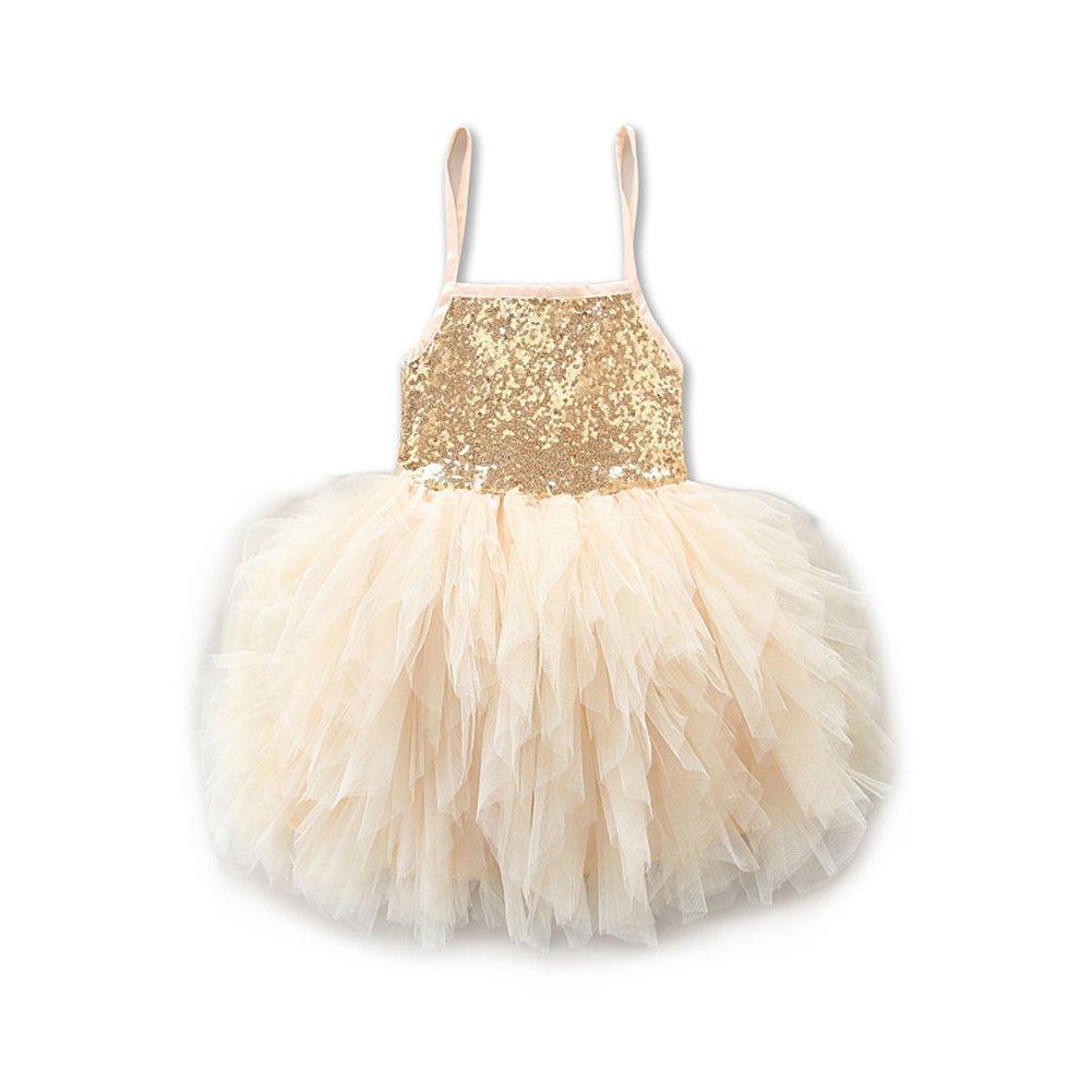 SCFEL Baby Girl Bambini Sequins Tutu Vestito Ragazze Compleanno Recital Merletto Spaghetti Straps Principessa Gonna