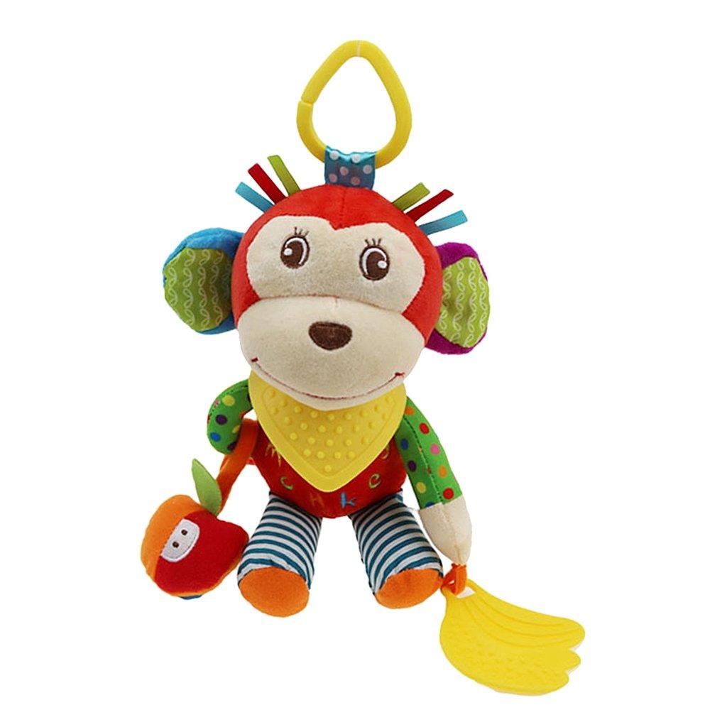 Fityle Baby Crib Stroller Cot Buggy Pram Car Seat Animal Hanging Rattles Dangle Toy - Monkey, 25x14cm