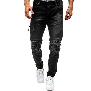 4c5f87fc Clocore Men's Ripped Knee Destroyed Side Zipper Denim Biker Jeans Jogger  Trouser