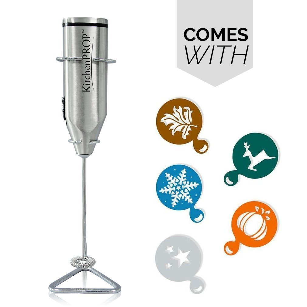 KitchenPROP Handheld Milk Whisk Frother with Stand, Includes 5x Holiday Stencils, Use for Cappuccino, Latte, Matcha Tea, Hot Chocolate, Butter Coffee, Protein Shakes, Powder Drinks, Eggs, Baby Formula Kitchen PROP HK2911