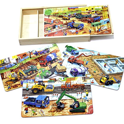 Timy 4-in-1 Wooden Jigsaw Puzzle for Kids Toddler Puzzles Engineering Vehicles Puzzles with Wooden Box