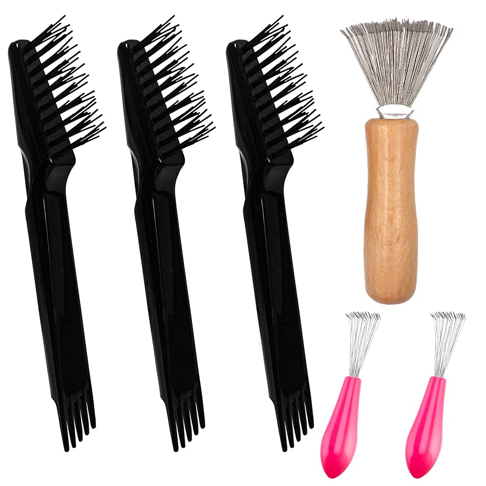 6 PCS Hair Brush Cleaner Comb Cleaning Brush Hair Brush Cleaning Cleaner Metal Wire Rake Remove Comb Embedded Tool for Removing Hair Home Salon