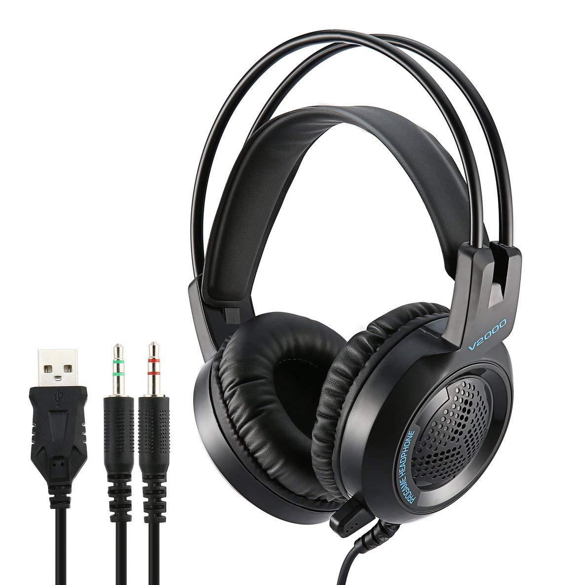V2000 Auriculares 7.1 Canales 3.5mm Jack Bass Estéreo con Efecto de Sonido para Juegos de Auriculares con micrófono para computadora PC Laptop Gamer