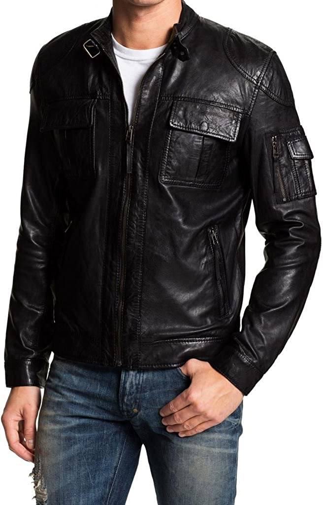 Pristine Leather Mens Motorcycle Leather Biker Party Genuine Lambskin Jacket