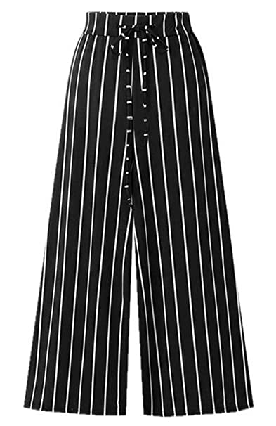 9f334e010d34c X-Future Women High Waist Stripe Lightweight Plus Size Loose Fit Wide Leg  Palazzo Pants at Amazon Women s Clothing store