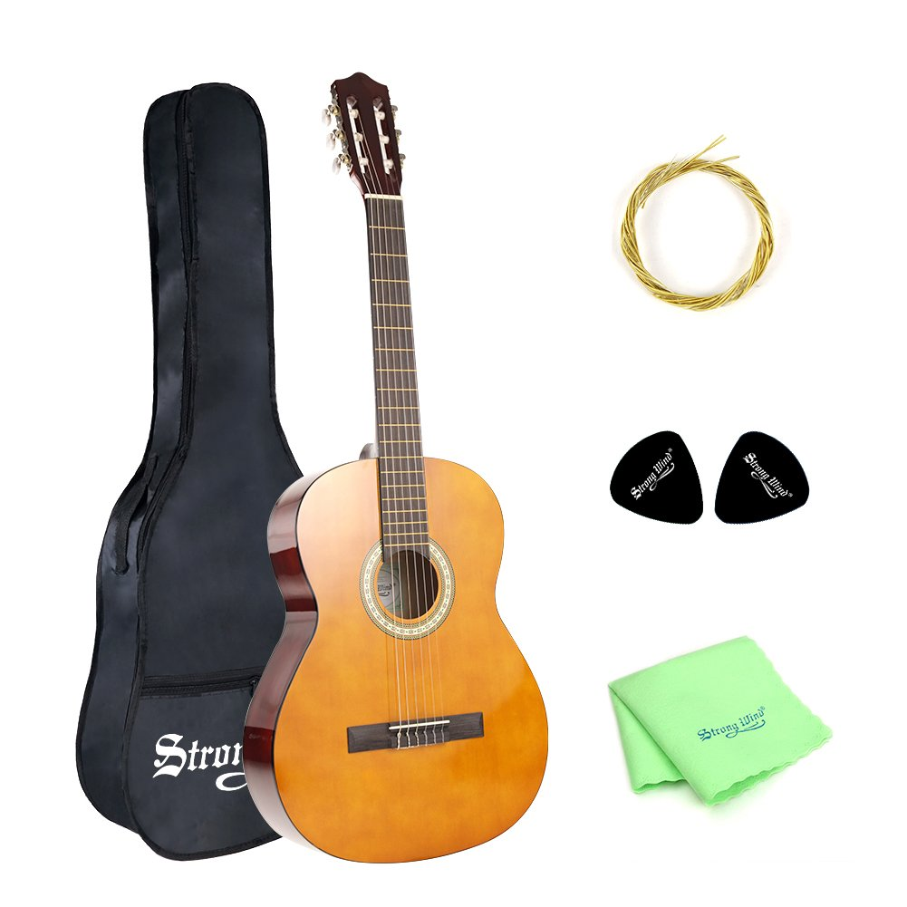 83c40042cf 4/4 Size Classical Acoustic Guitar, Strong Wind 39 Inch 6 Nylon Strings Guitar  Beginner Kit Guitar Starter Pack with Picks, Carrying bag, ...