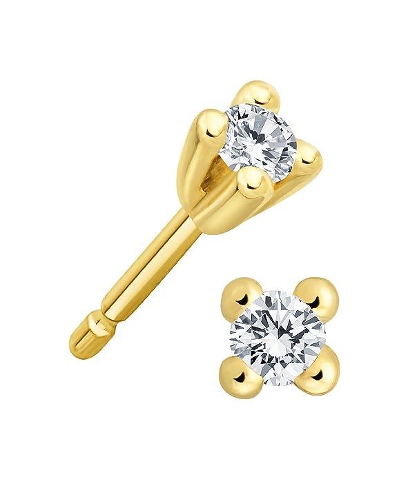0,10 Karat Diamant Solitaire Herren Ohrstecker 585er 14 K Weißgold /& Zertifikat