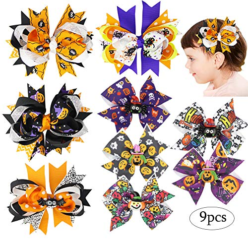 Diy Halloween Hair Clips (Day of The Dead Clips Halloween Hair Bow Clips Hair Accessories Hairpin with Ghost Pumpkin Pattern for Girls Baby Toddlers Women Party Hairwear Trick or Treat Decorations Decals 9 Packs)