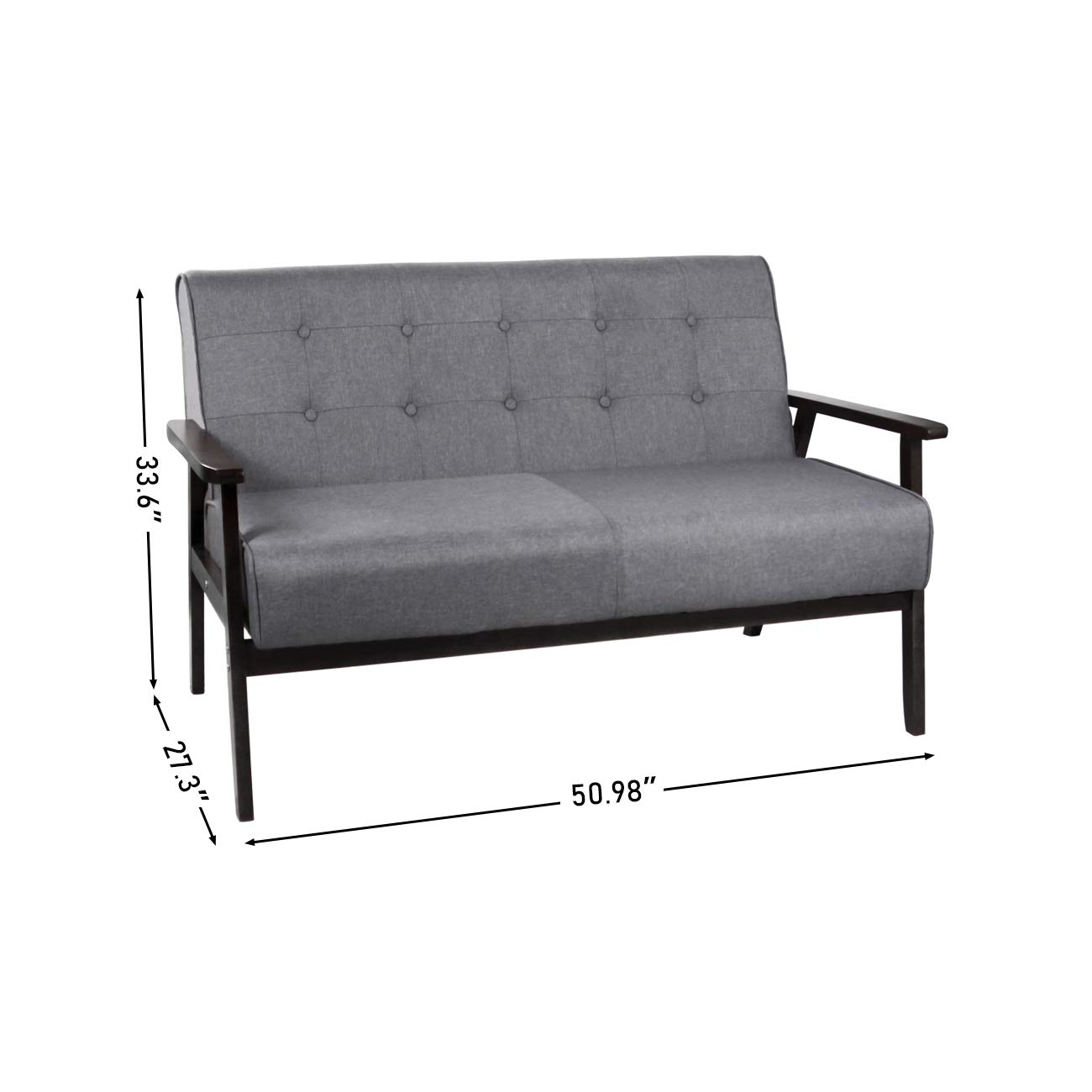 Solid Wood Armrest Loveseats, Mid-Century Modern Grey Fabric Sofa, Upholstered Tufted Back Couch, 2-seat, Seating Size 48