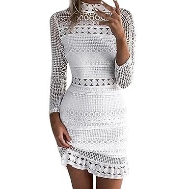08f6ad7245 Longra ☆ Vestido a media pierna del cordón del partido de Bodycon Cocktail  del cordón sólido atractivo de las mujeres   vestidos del vendaje   Amazon.es  ...