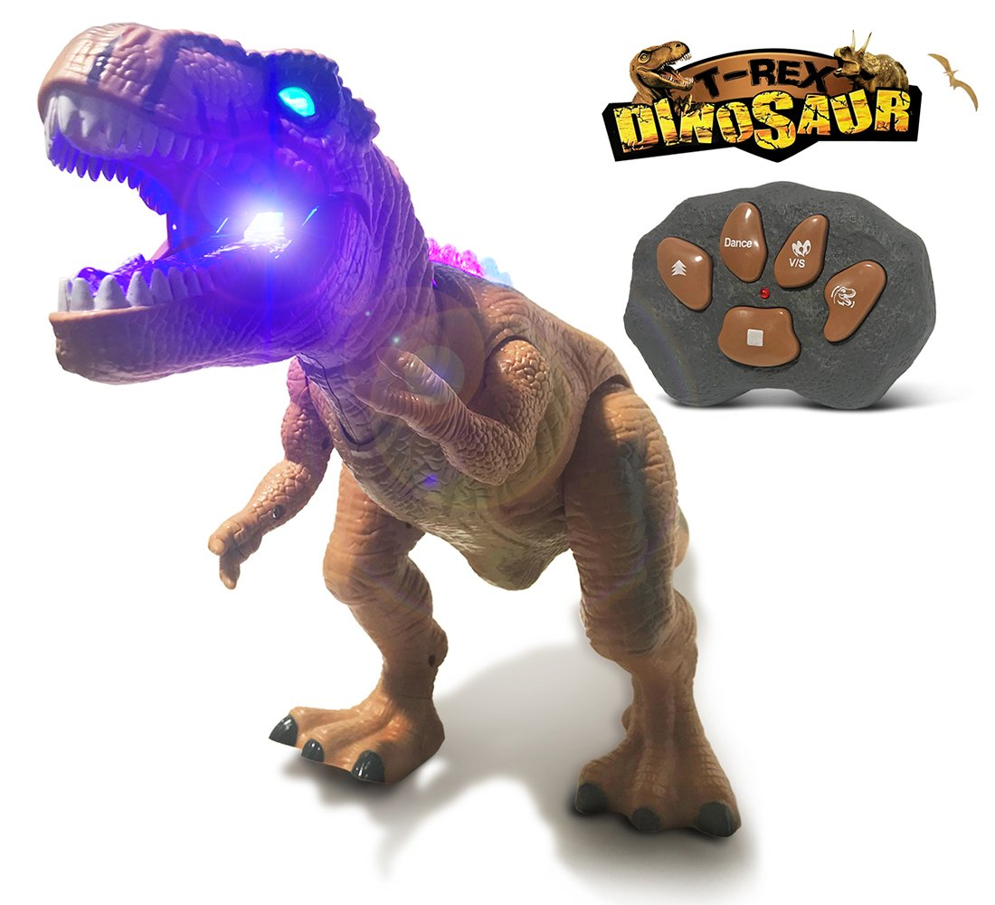 Warp Gadgets - Remote Control LED Brown T-Rex Dinosaur 19 Inches - Walking Dancing, Roaring, Light Up RC Toy