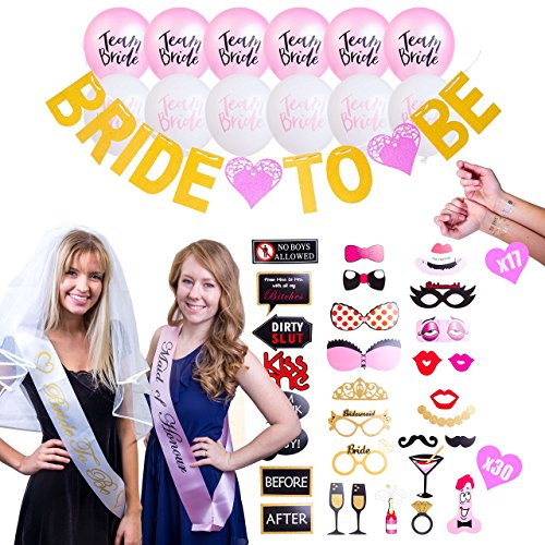 Bachelorette Party Supplies Decoration Set | Bridal Shower Party Accessories Kit Including: Sashes, Veil, Photo Booth Props, Flash Tattoos,